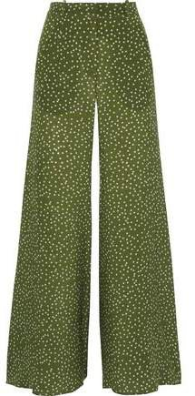 Mille Polka-dot Silk Crepe De Chine Flared Pants