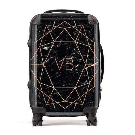 Personalised Rose Gold With Marble Initials Suitcase| Dyefor