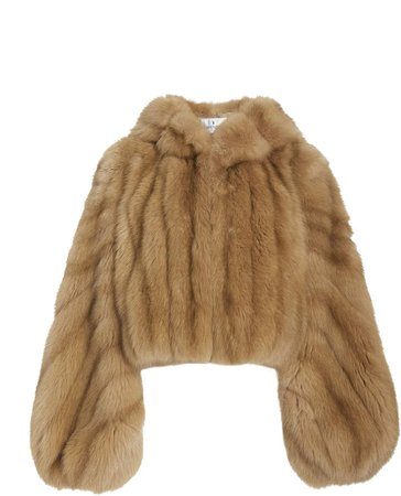 J. Mendel Hooded Fur Cropped Jacket