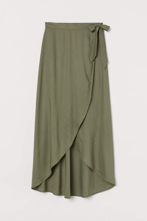 Wrap-front Skirt - Green