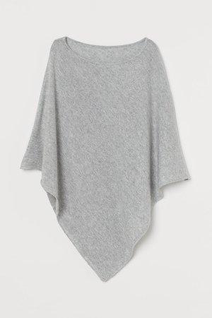 Knit Poncho - Gray