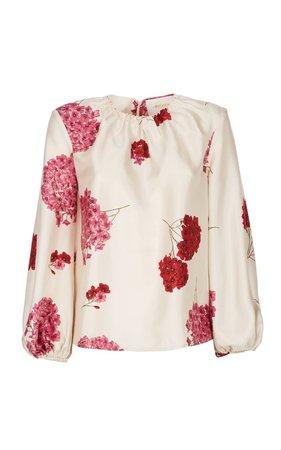 Charming Floral Print Silk Blouse