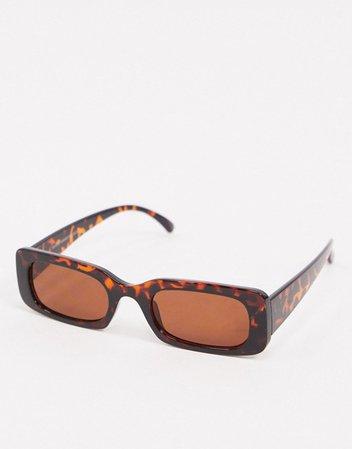 New Look rectangle sunglasses in tortoiseshell | ASOS