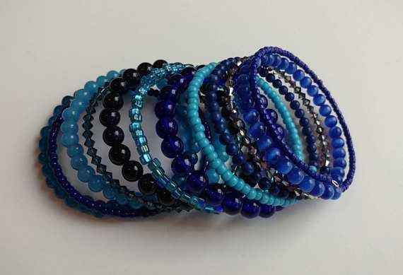 Blue Memory Wire Bracelet Blue Beaded Bracelet Blue Stacked