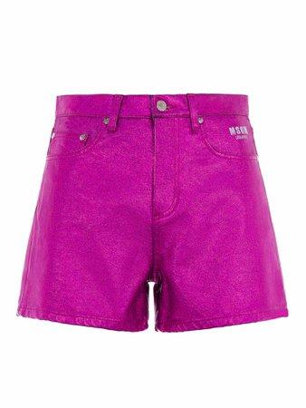 Msgm Metallic High-waist Shorts