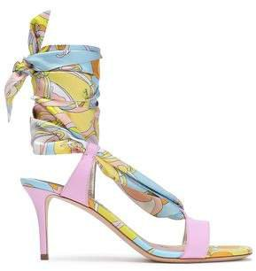 Printed Satin-twill And Leather Sandals