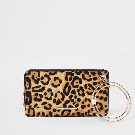 Black leather leopard print wristlet pouch - Bags & Purses - Sale - women