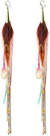 Amazon.com: Badu Women Feather Earrings Long Tassel Bohemian Jewelry White Gold Wedding Accessories (Purple): Jewelry
