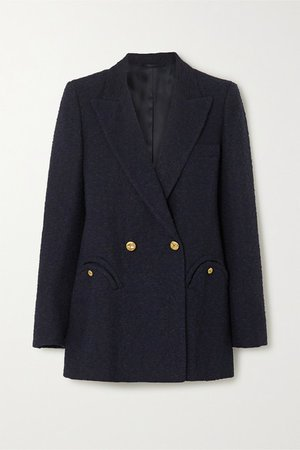 Everyday Double-breasted Cotton-blend Boucle Blazer - Navy