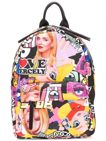 small collage print backpack