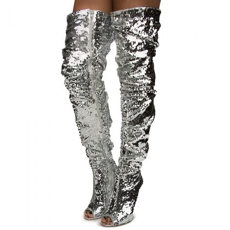 Women's Emelia-10 Over The Knee Boot SILVER SEQUIN - Thigh High Boots - Boots - Fashion Shoes - Shoes - Women