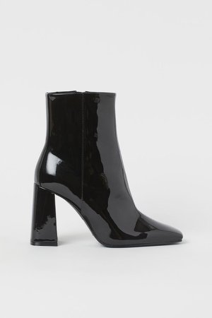 Patent Ankle Boots - Black