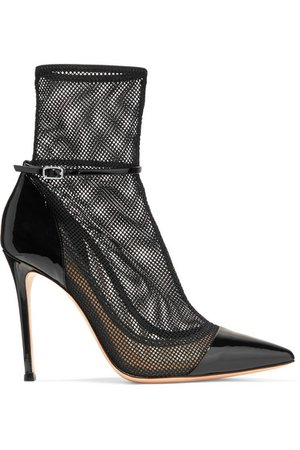 Gianvito Rossi   100 mesh and patent-leather ankle boots   NET-A-PORTER.COM