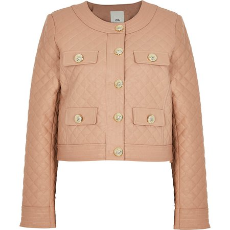 Pink faux leather quilted jacket   River Island