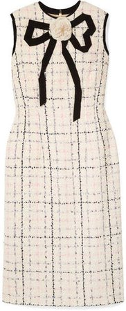 Grosgrain-trimmed Checked Tweed Dress - Ivory