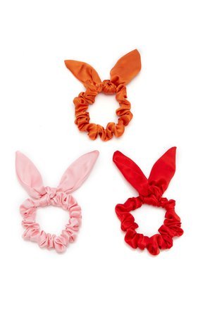 Exclusive Set-Of-Three Chiquita Silk-Satin Scrunchies by DONNI. | Moda Operandi