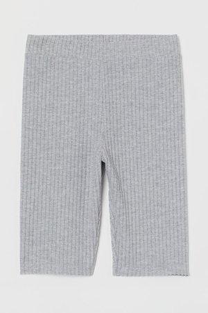Ribbed Biker Shorts - Gray