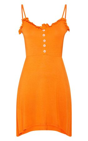 ORANGE FRILL BUTTON FRONT SWING DRESS