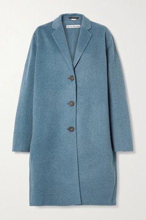 Oversized Melange Wool Coat - Blue