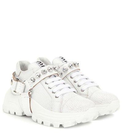 Embellished Leather Sneakers - Miu Miu | Mytheresa