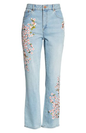 AO.LA Cherry Blossom Embroidery High Rise Slim Jeans (Sweet Emotion) | Nordstrom