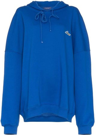 blue oversized logo patch cotton hoodie
