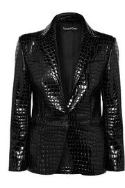 Balmain | Button-embellished collarless leather blazer | NET-A-PORTER.COM