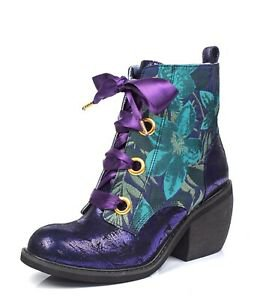 Irregular Choice NEW Quick Getaway purple green gold floral heel ankle boots 3-9   eBay