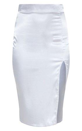 Grey Satin Slit Front Midaxi Skirt | PrettyLittleThing