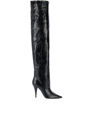 Black Saint Laurent Kiki thigh-high pointed-toe boots - Farfetch
