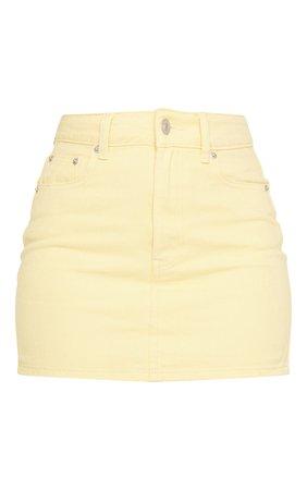 *clipped by @luci-her* Lemon Denim Mini Skirt | Denim | PrettyLittleThing USA