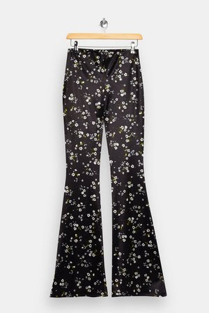 Floral Print Satin Flare Pants | Topshop