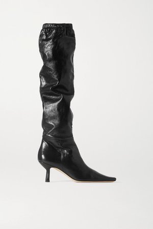 Gwen Leather Knee Boots - Black