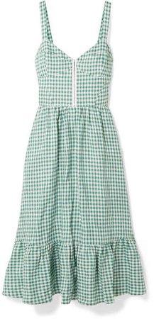 Dolci Gingham Linen Midi Dress - Green