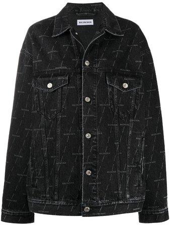 Balenciaga logo-print denim jacket