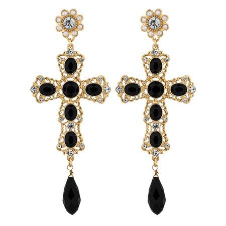 Black and Gold Cross Drop Earrings