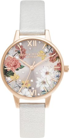 Floral Shimmer Faux Leather Strap Watch, 30mm