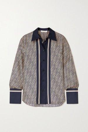 Printed Silk-twill Shirt - Navy