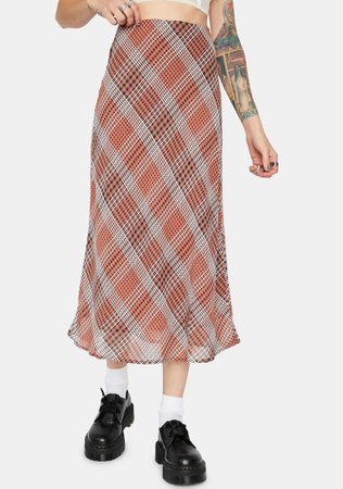 Plaid Midi Skirt - Mauve | Dolls Kill