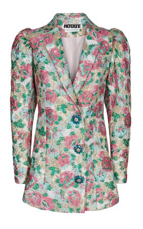 Carol Button-Embellished Floral-Jacquard Mini Dress by ROTATE | Moda Operandi