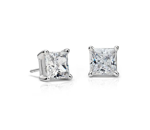 Princess-Cut Diamond Stud Earrings in Platinum (4 ct. tw.) | Blue Nile