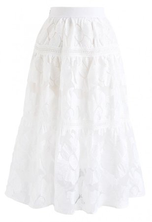 Blossom Embroidered Organza Skirt in White - NEW ARRIVALS - Retro, Indie and Unique Fashion
