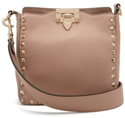Rockstud Grained Leather Cross Body Bag - Womens - Nude