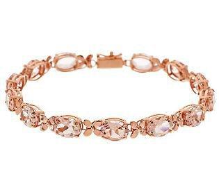 """Premier 14K Oval Morganite & Floral Design 6-3/4"""" Tennis Bracelet"""