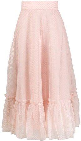 Polka-Dot Flared Midi Skirt