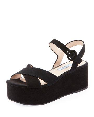 Prada Suede Wedge Platform Sandals   Neiman Marcus