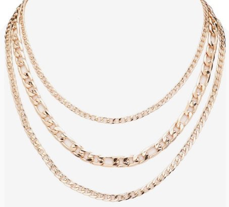 Yellow Gold Triple Chain Necklace