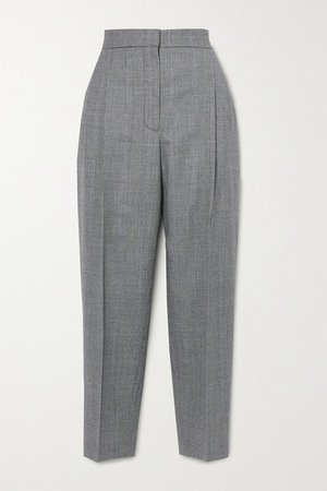 Prince Of Wales Checked Wool And Cashmere-blend Tapered Pants - Gray