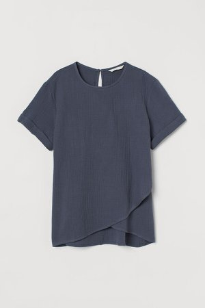 MAMA Cotton Nursing Blouse - Blue