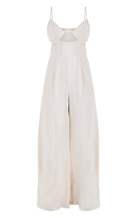 Champagne Binding Detail Strappy Satin Jumpsuit   PrettyLittleThing USA